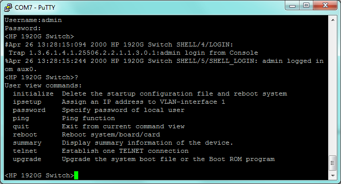 HP Comware on HP 1920: basic commands