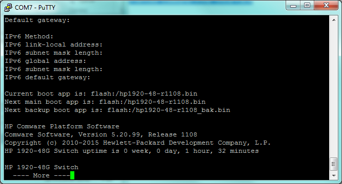 HP Comware on HP 1920: basic commands sum