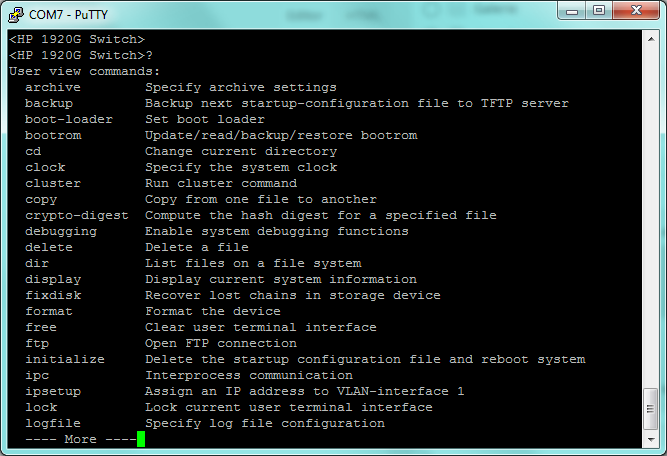 HP Comware on HP 1920: user view commands