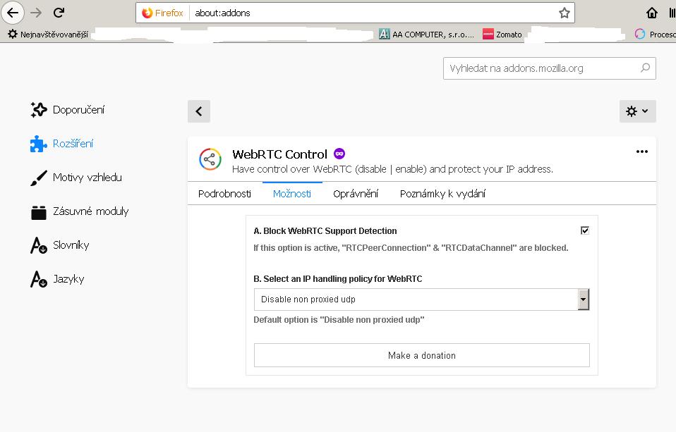 Optimálni nastavení doplňku WebRTC Control